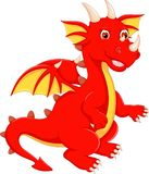 Funny red dragon cartoon posing with smile Royalty Free Stock Photos