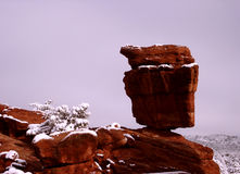 Pict5138 Balanced Rock On Snowy Day Stock Images