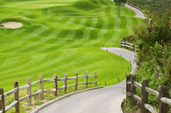 Picteresque green golf field with a fence Royalty Free Stock Image