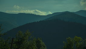 The picteresque view of the sky and the mountaints on a sunny day. stock video
