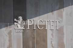 Pictet Sign and Logo on Wall royalty free stock photo