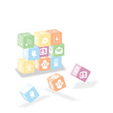 Picto2. Some cube about network, do with pictogram and easy to customize Royalty Free Stock Images