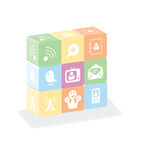 Picto2. Some cube about network, do with pictogram and easy to customize Stock Photos