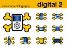 Pictografía del crossbone de Digitaces 2 Imágenes de archivo libres de regalías