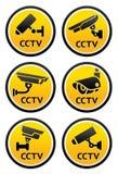 Pictogram камеры слежения, установил знаки CCTV круглые Стоковые Изображения
