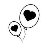 Pictogram balloons black hearts love design. Vector illustration eps 10 Stock Photos