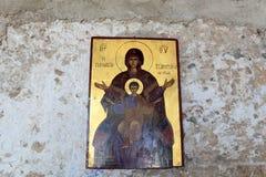 Pictogram binnen klooster Tsambika Royalty-vrije Stock Foto's
