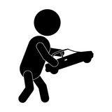 Pictogram boy playing with toy car Royalty Free Stock Image