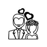 Pictogram bride and groom wedding heart design Stock Photography