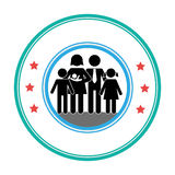 Pictogram of circular frame with family Stock Photography