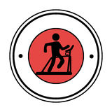 Pictogram circular frame with man in treadmill Royalty Free Stock Image