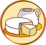 Pictogram - dairy products. Pict - dairy - cheese, milk, etc Royalty Free Stock Image