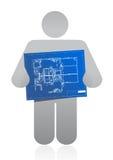 Pictogram dat een blauwdruk houdt Stock Afbeeldingen
