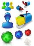 De sociale media pictogrammen van de Webpost Stock Afbeeldingen