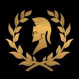 Pictogram de Spartaanse helm in een lauwerkrans van goud stock illustratie