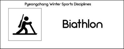 Pictogram die Biathlon-discipline van wintersportenspelen afschilderen in Pye royalty-vrije illustratie