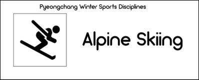 Pictogram die discipline van wintersportenspelen afschilderen in Pyeongchang vector illustratie