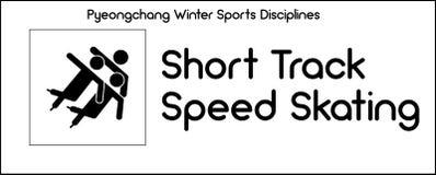 Pictogram die Korte Spoorsnelheid het Schaatsen discipline van de winter SP afschilderen stock illustratie
