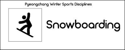 Pictogram die Snowboarding-discipline van wintersportenspelen binnen afschilderen stock illustratie