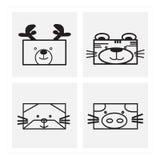 pictogram dierlijke gezichten Stock Afbeelding