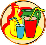 Pictogram - drinks. Pict - drinks - water, cola, etc vector illustration