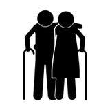 Pictogram elderly couple with walking stick Stock Images