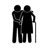 Pictogram elderly couple with walking stick Royalty Free Stock Image