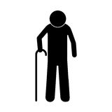 Pictogram elderly man with walking stick Royalty Free Stock Photography