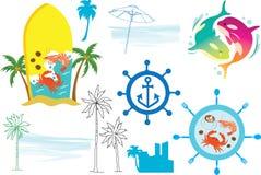 Pictogram en Logo Vector voor Zeevruchtenkoffie en Restaurant Royalty-vrije Stock Foto's