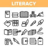 Pictogram för linjära symboler för vektor för läs-och skrivkunnighet fastställd tunna royaltyfri illustrationer