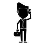 Pictogram för smartphone för samtal för affärsman stock illustrationer