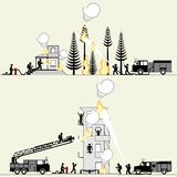 Pictogram of firefighters saving lives and rescuing property royalty free illustration