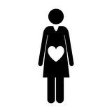 Pictogram front view pregnant woman with heart in belly Stock Image