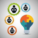 Pictogram gears bulb puzzle teamwork support design. Pictogram gears bulb puzzle teamwork support collaborative cooperation work icon set. Colorful design Stock Image