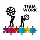 Pictogram gears puzzle teamwork support design Royalty Free Stock Photo