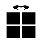 Pictogram for a gift with ribbon heart Royalty Free Stock Photos
