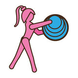 Pictogram girl sport ball element Royalty Free Stock Images