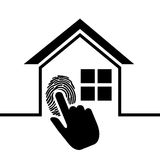 Pictogram home security fingerprint. Illustration eps 10 Royalty Free Stock Image