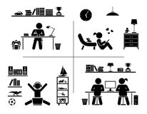 Pictogram icon set. Children learning in their room. stock illustration