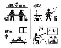 Pictogram icon set. Children spending time in their room. royalty free illustration