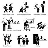 Sex Crime and Criminal. Pictogram and icons depicts sexual harassment Royalty Free Stock Photo