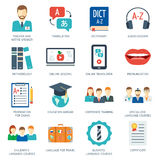 Pictogram and icons set for foreign language courses and schools. Flat design. Vector. Illustration Stock Images