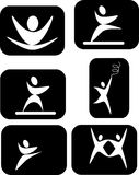 Pictogram inverted in the expression of the arts. Pictogram white on black,of dance, gymnastics or martial arts Stock Photography