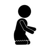 Pictogram of little baby girl kneeling. Vector illustration Stock Photo
