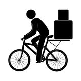 Pictogram male riding a bicycle with packages Stock Photos