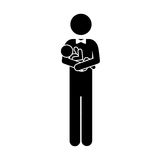 Pictogram man carrying a baby. Pictogram man with little baby in arms vector illustration vector illustration Stock Photo