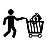 Pictogram man with shopping cart and camera Stock Images