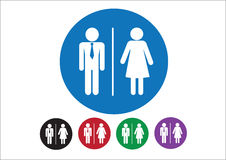 Pictogram Man Woman Sign icons, toilet sign or restroom icon Stock Photos
