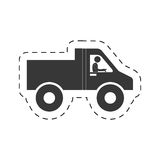 Pictogram man worker drive truck transport cutting line Royalty Free Stock Photography