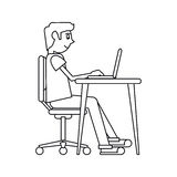 Pictogram man working front computer with pc Stock Photography